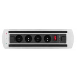 Mediaport obrotowy VAULT, 4 gniazda 230V + wyłącznik, elektryczny z fotokomórką