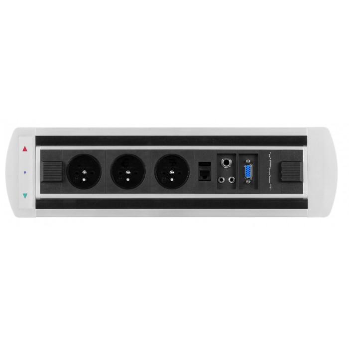 Mediaport obrotowy VAULT, 3 x 230V + 1 x RJ45 + 1 x Video + 2 x Mini Jack, elektryczny z fotokomórką