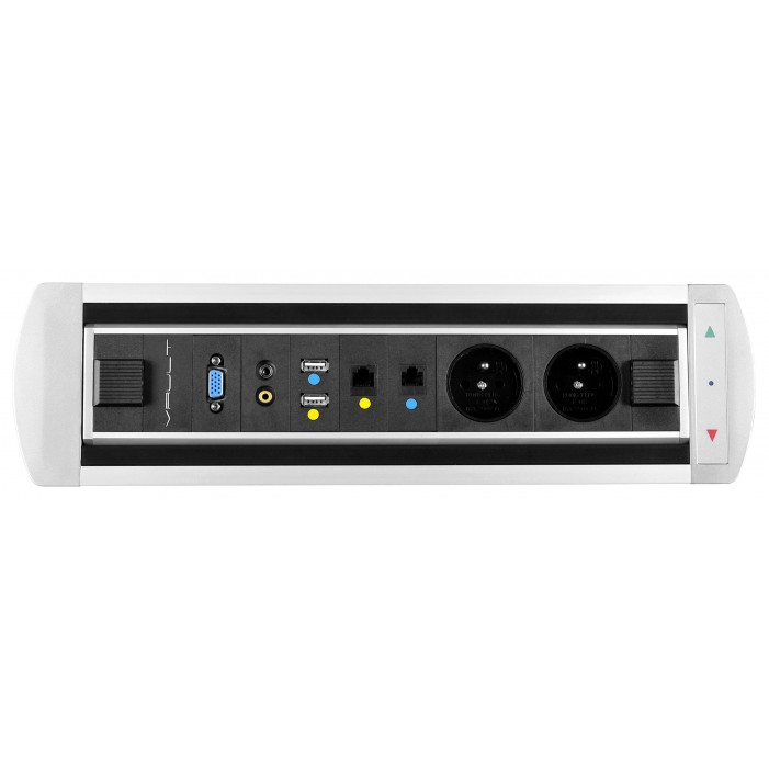 Mediaport obrotowy VAULT, 2 x 230V + 2 x RJ45 + 2 x USB + Video + 2 x Mini Jack, elektryczny z fotokomórką
