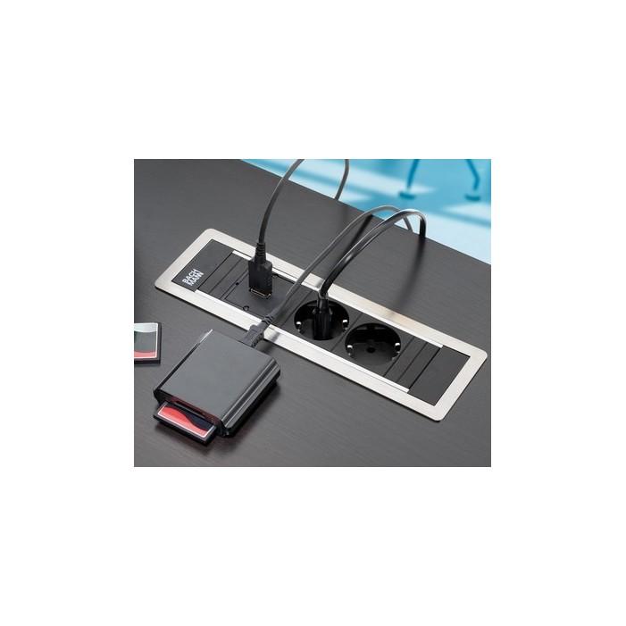 Mediaport Bachmann Power Frame 4 x 230V, ramka srebrno-szara