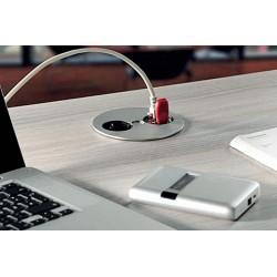 Mediaport Bachmann TWIST, gniazdo 230V + RJ45 + USB, kolor chrom mat.