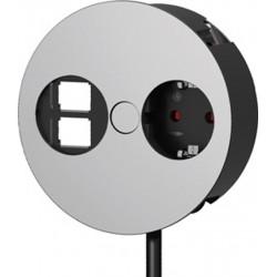 Mediaport Bachmann TWIST, gniazdo 230V + RJ45 + HDMI, kolor chrom mat.