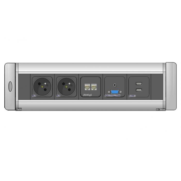 Mediaport obrotowy AH Meyer Turn Comfort - 2x 230V + 2x RJ45 + 2x USB + VGA + Mini Jack