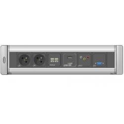 Mediaport obrotowy AH Meyer Turn Comfort - 2x 230V + 2x RJ45 + USB + HDMI + RCA + VGA