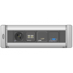 Mediaport obrotowy AH Meyer Turn Comfort - 230V + 2x RJ45 + HDMI + VGA + Mini Jack