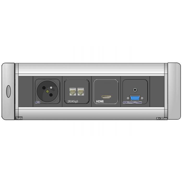 Mediaport obrotowy AH Meyer Turn Comfort - 230V + 2x RJ45 + HDMI + VGA + Mini Jack