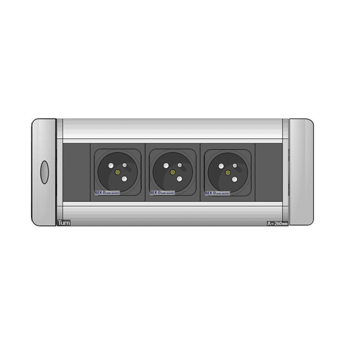 Mediaport obrotowy AH Meyer Turn Comfort - 3x 230V