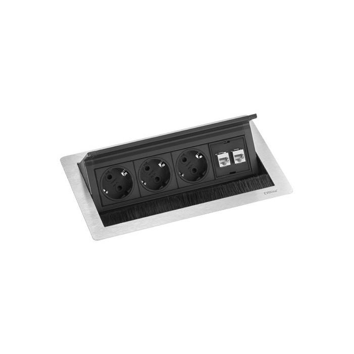 EVOline FlipTop Push Data M, 3x 230V, 2xRJ45 Schulte Elektrotechnik