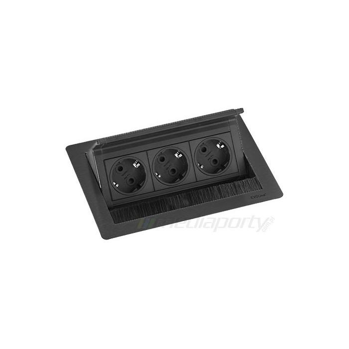 EVOline FlipTop Push Black S 3 gniazda 230V, Schulte Elektrotechnik