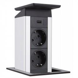 EVOline Port Push Charger, 2 gniazda, Ładowarką USB wieko stal nierdzewna