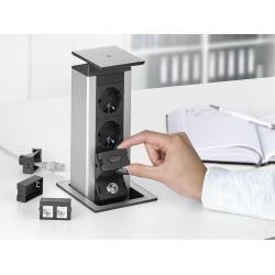 EVOline Port Push, 2x230v, 2xRJ45, 1xHDMI,1x USB ładowarka, wieko INOX