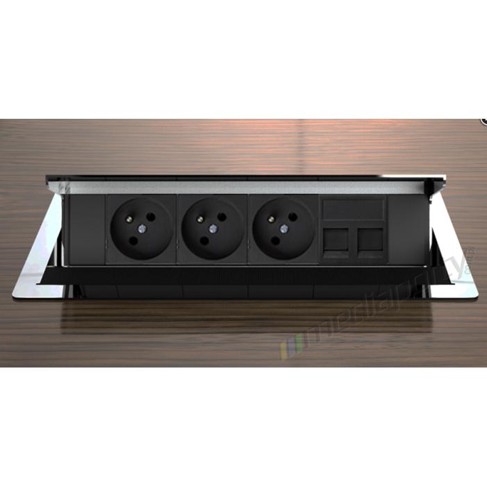Mediaport INTEGRA - 4x230V, 2xLAN chromowany
