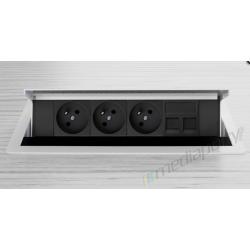 Mediaport INTEGRA - 3x230V, 2xLAN biały