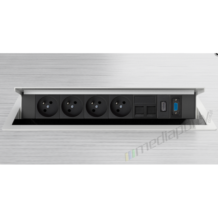 Mediaport INTEGRA - 4x230V, 2xRJ45, 1xHDMI, 1xVGA bialy