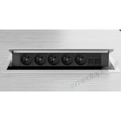 Mediaport INTEGRA - 5x230V, 2xRJ45, bialy