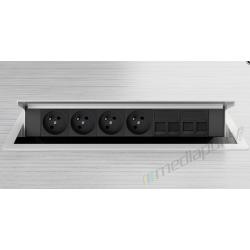 Mediaport INTEGRA - 4x230V, 4xRJ45, biały