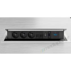 Mediaport INTEGRA - 3x230V, 2xRJ45, 1xHDMI, 1xVGA 1xUSB, 1xJack bialy