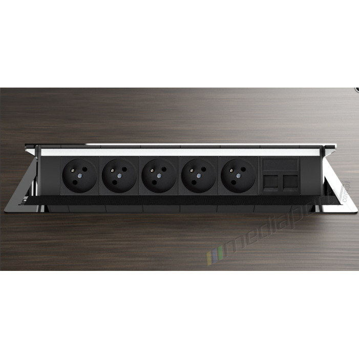 Mediaport INTEGRA - 5x230V, 2xRJ45, chromowany