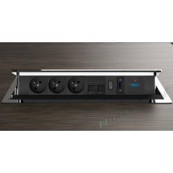 Mediaport INTEGRA - 3x230V, 2xRJ45, 1xHDMI, 1xVGA 1xUSB, 1xJack chrom