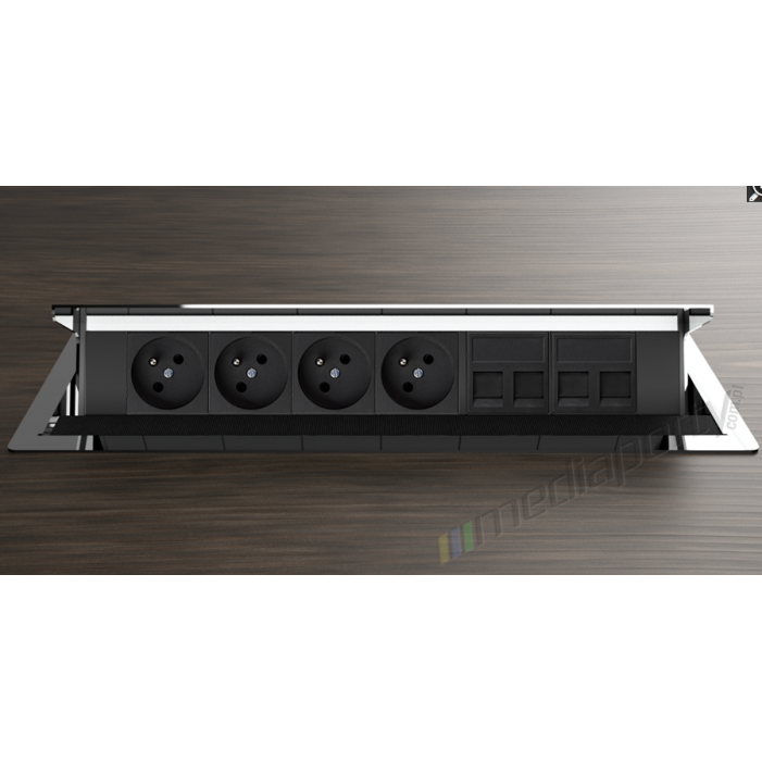 Mediaport INTEGRA - 4x230V, 4xRJ45, chromowany