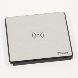 Mediaport Schulte Evoline Square80 Wireless Charger STAL INOX 1x230V, 1xUSB charger, 1xRJ45 CAT6 pull cable