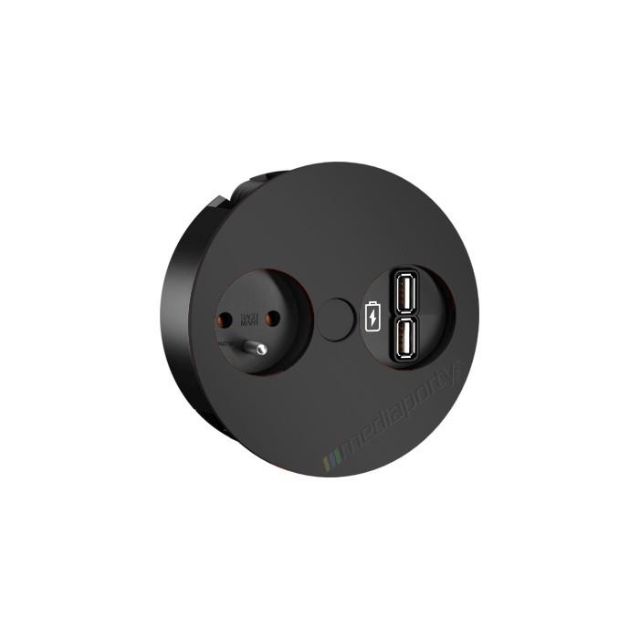 Mediaport Bachmann TWIST, 230V, 2 x USB Charger, kolor czarny