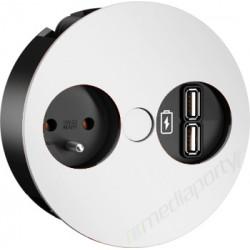 Mediaport Bachmann TWIST, 230V, 2 x USB Charger, kolor biały