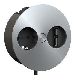 Mediaport Bachmann TWIST, 230V, 2 x USB Charger, kolor stalowy