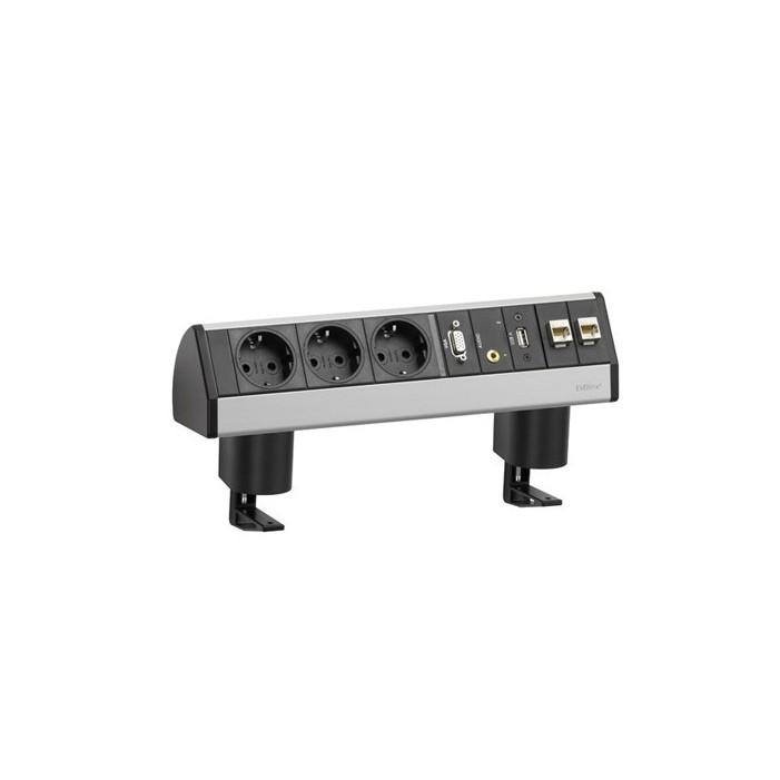 Mediaport, 3 gniazda + 2 x RJ45 + 1 x VGA + 1 mini jack + 1 x USB, 3m., Schulte EVOline Dock