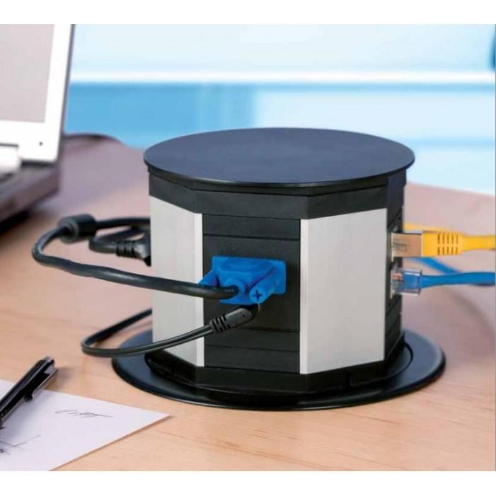 Bachmann LIFT 2x 230V + 2x RJ45 + VGA + Audio Mini Jack, czarny