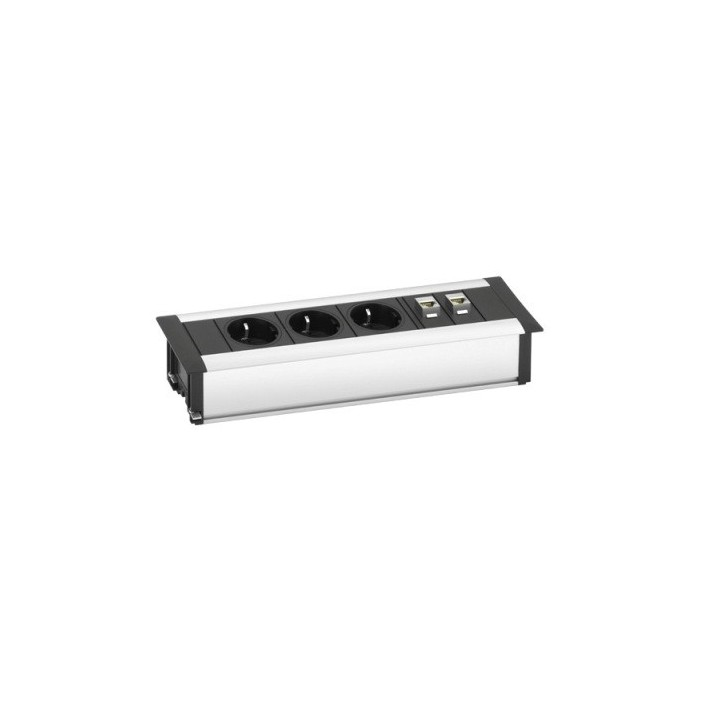 Mediaport, 3 gniazda + 2 x RJ45, 3m., Schulte EVOline Frame Dock Data Small